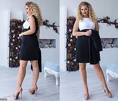 Женский комплект платье с кардиганом  классического черного цвета  размеры:42-56, фото 2
