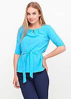 Блузка женская с поясом однотонная голубая , фото 1