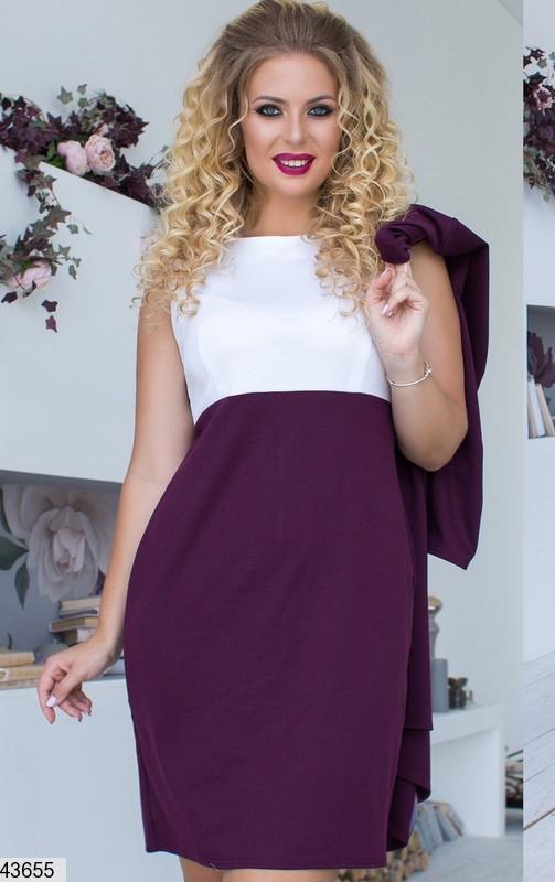 Женский комплект платье с кардиганом  цвет баклажан размеры:42-56