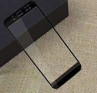 Защитное стекло для Samsung Galaxy J6 2018 SM J600 Самсунг на весь экран клеится по всей поверхности черный 5D