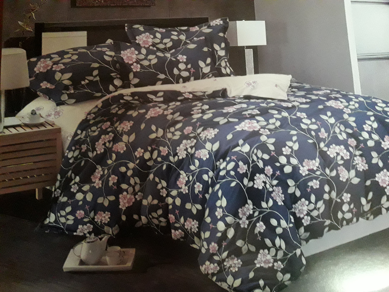 Комплект постельного белья полуторный  САТИН Цветочный блюз