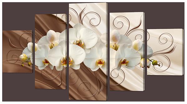"""Модульная картина """"Цветы белые на коричневом"""""""