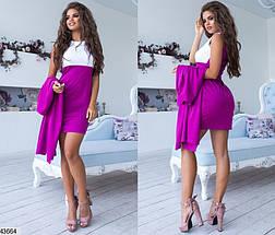 Женский комплект платье с кардиганом  цвет сиреневый размеры:42,44,46, фото 3