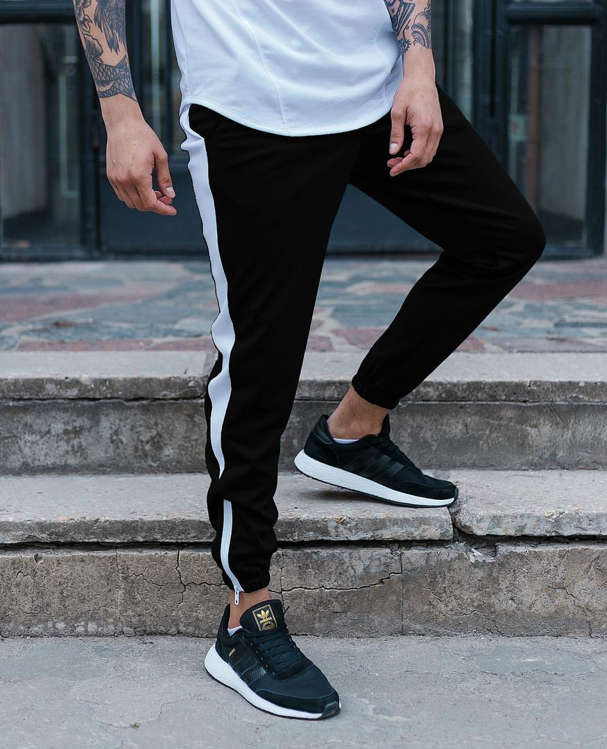 Спортивные штаны черные с белой полоской мужские от бренда ТУР модель Рокки (Rocky) размер XS, S, M, L,XL