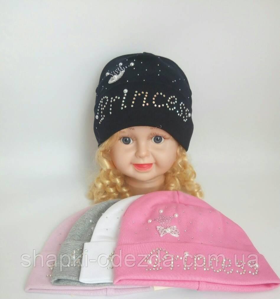 Трикотажная шапка  для девочки двойная р 42-44 оптом