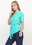 """Блузка женская с поясом однотонная зелёная """"Кери"""" , фото 6"""
