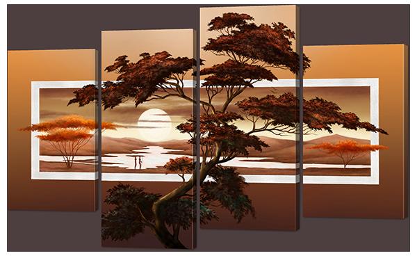 Модульная картина Дерево на фоне заката