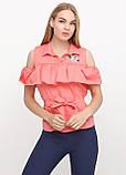 Блузка женская с воланами и вышивкой (коралл), фото 5