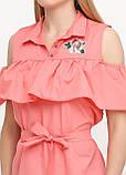 Блузка женская с воланами и вышивкой (коралл), фото 7