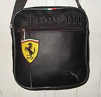 Мужская сумка Puma Ferrari черная эко-кожа желтая эмблема, фото 1