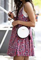 Круглая кожаная сумочка Черно-Белая, фото 1