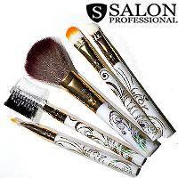 Salon Prof. Набор кистей для макияжа (5шт) 688 белые золотой узор ручки