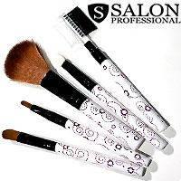 Salon Prof. Набор кистей для макияжа (5шт) 689 длинные белые розовый узор ручки