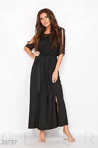Модное платье длинное полуприталенное масло короткий прозрачный рукав черное