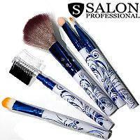 Salon Prof. Набор кистей для макияжа (5шт) 690 длинные белые синий узор ручки