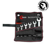Набор рожковых ключей 6шт. 6-17мм Cr-V, покрытие сатин-хром; PROF DIN3113 XT-1101