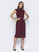 Утонченное платье-футляр длины миди с отложным воротником  Modniy Oazis бордовый 90314/1, фото 1