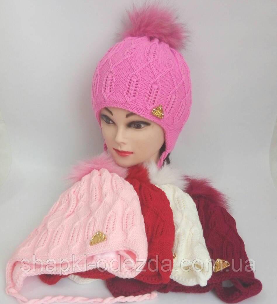 детская вязаная шапка зима для девочки с натуральным помпоном р 50