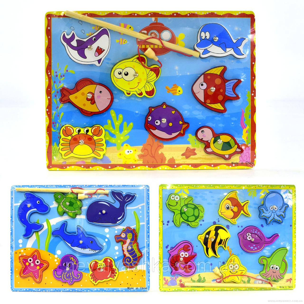 Деревянная игрушка 2в1 Рамка Вкладыш и Рыбалка Морские Обитатели, ADM-172, 008417