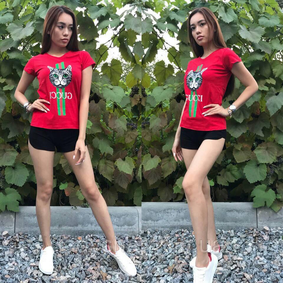 32104f52f116 Женский костюм шорты и футболка Gucci Кошка в разных расцветках ...