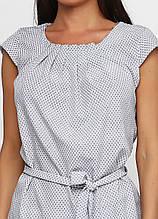 Блузка женская с геометрическим принтом и поясом (светло-серая)
