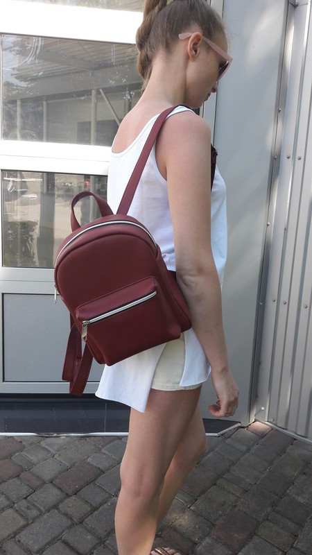 Женский рюкзак бордовый SamBag Брикс Самбег разные размеры 11214005