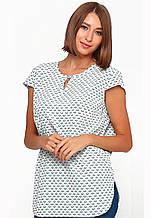 Блузка женская свободного кроя с рисунком (светло-зелёный)