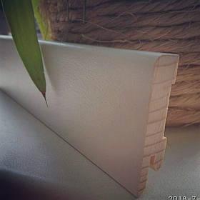 Плінтус підлоговий білий дерев'яний 12*50*2200, шпонований