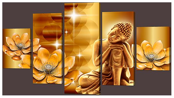 """Модульная картина """"Будда и лотосы"""""""