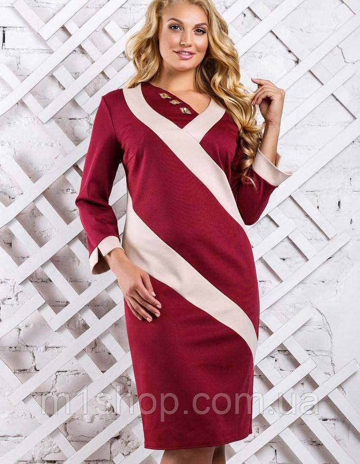 Женское двухцветное трикотажное платье больших размеров (2319-2317-2318 svt)