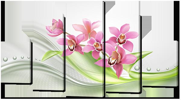"Модульная картина ""Орхидеи розового цвета"""