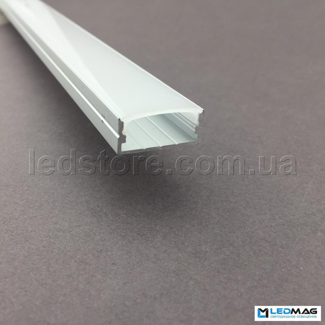 Светодиодный профиль + крышка  под две светодиодные ленты накладной 24х10 мм