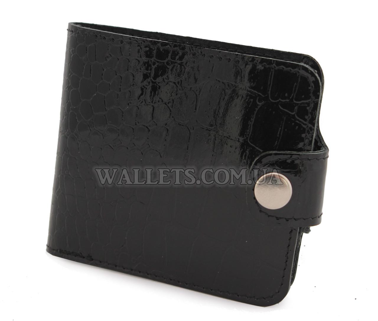 Чоловічий шкіряний гаманець VIVA, компактний, чорний крокодил лак