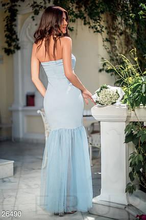 Нарядное вечернее платье макси по фигуре низ пышный без рукав нежно голубое, фото 2