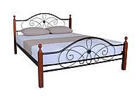 Красивая двуспальная металлическая кровать Фелиция Вуд  190х140, бордовая