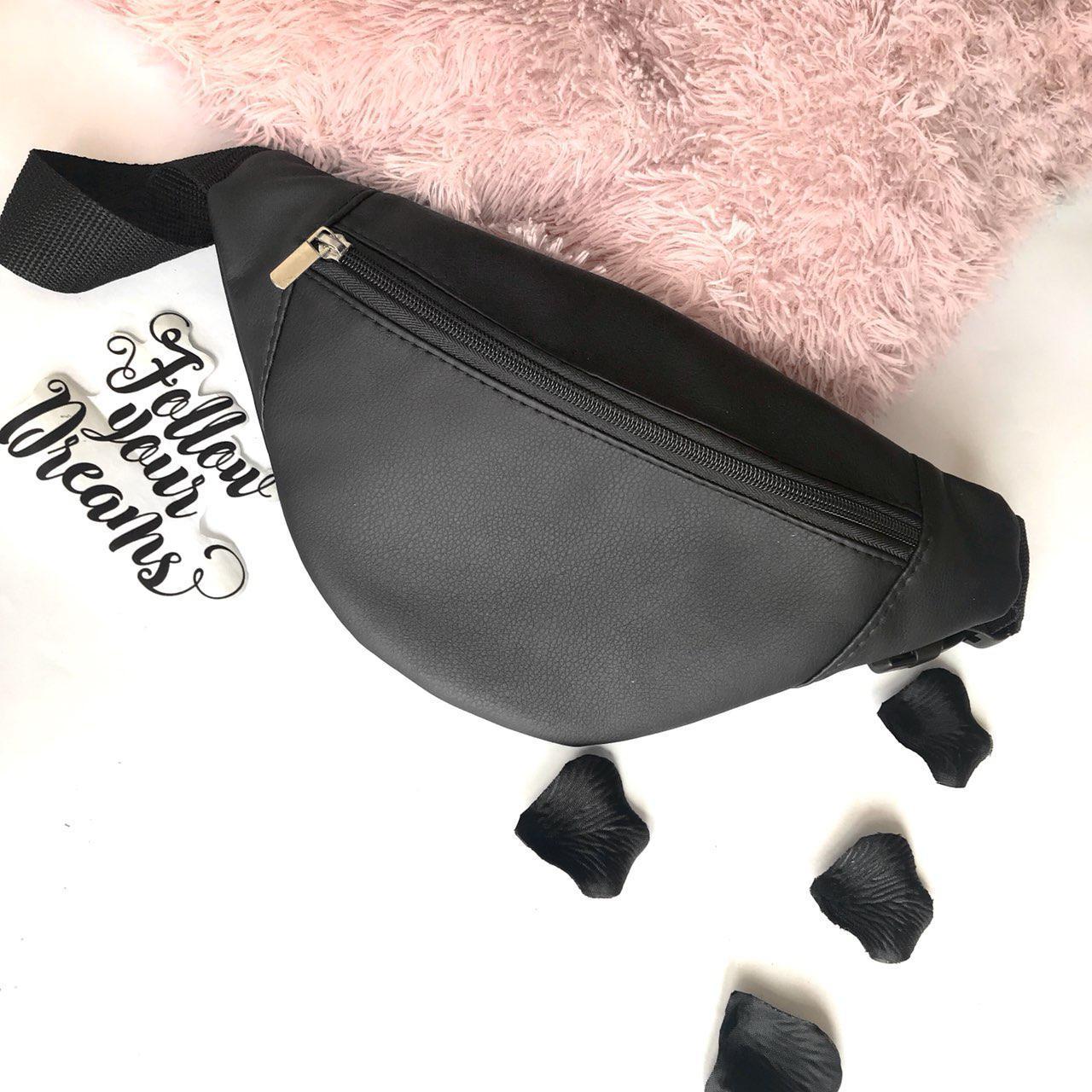 Черная женская бананка сумка на пояс эко-кожа