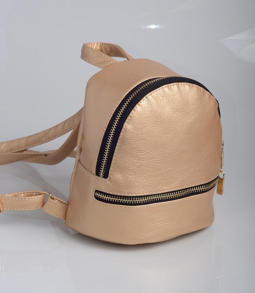 Мини рюкзак для девушек на лето золотой