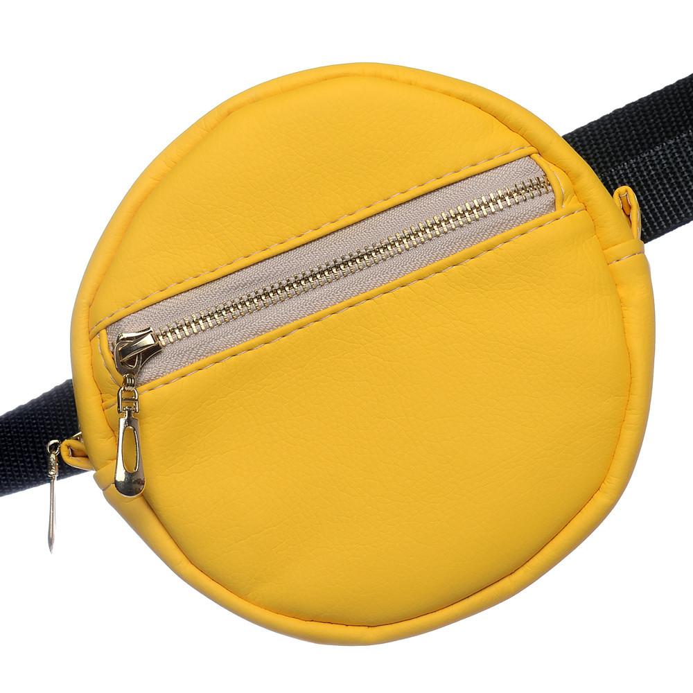 Женская бананка Sambag желтая сумка на пояс диаметр 16 см. эко-кожа