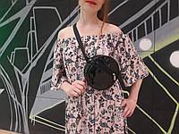 Женская круглая бананка сумочка на пояс черная лаковая