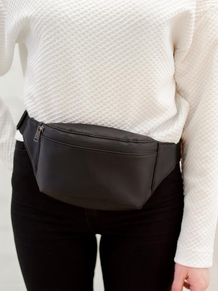 Женская сумка на пояс черная Тирсо Sambag (сумки, бананка сумка, поясн