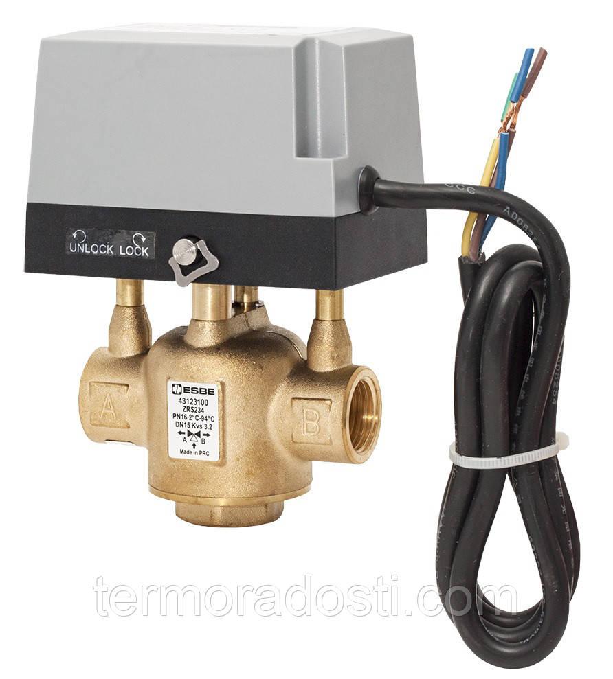 """ESBE ZRS 234 (1/2"""" DN15, Kvs 3,2) трехходовой клапан переключающий"""