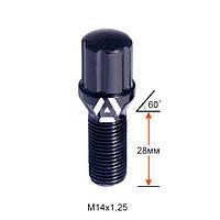 Болт колесный шлицевой A177110SD BACr M14х1,25х28мм Конус для узких отверстий в диске Черный Хром Ключ-Адаптер