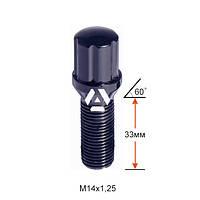 Болт колесный шлицевой A177130SD BACr M14х1,25х33мм Конус для узких отверстий в диске Черный Хром Ключ-Адаптер