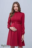 Классическое платье для беременных и кормящих Rebecca р. 44-50 ТМ Юла Мама Кармин DR-38.081