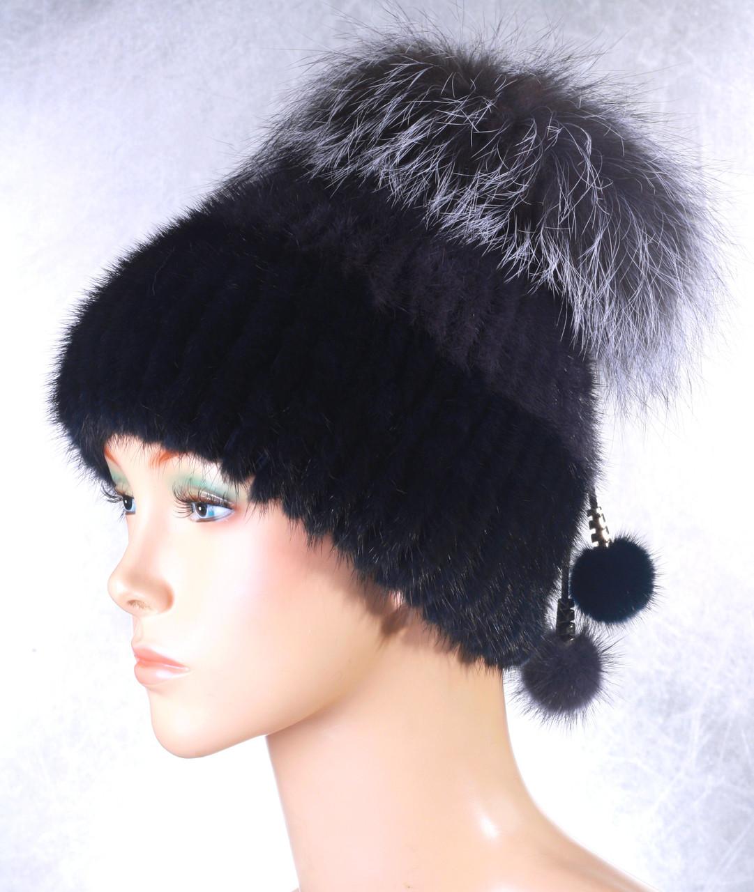 Жіноча хутрова шапка кольоровий Ліхтарик з норки