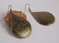 Серьги латунные с растительным орнаментом. Славянские украшения