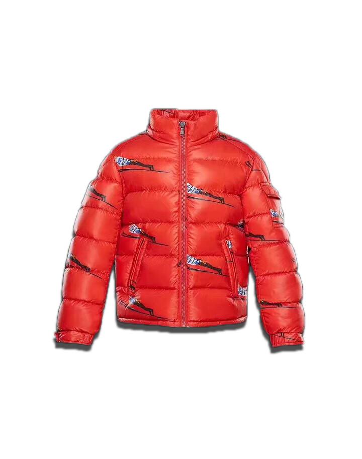 """Детская курточка пуховик Sabbi """"Лыжник""""  красная без капюшона"""