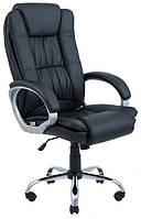 Компьютерное кресло Калифорния Ричман хром, кожзам черный, для руководителя