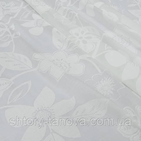 Тюль кисея с утяжелителем, цветочный принт, белый