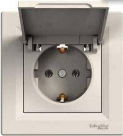 Розетка з кришкою з заземлюючим контактом Asfora Слонова кістка Schneider Electric, фото 2